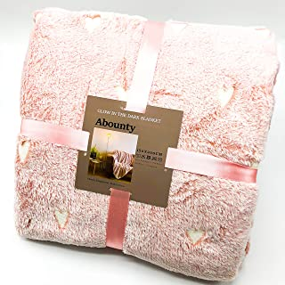 Morecash Abounty Glow in The Dark Throw Blanket,Soft Pink Love Pattern 78.7x59 Inches Flannel Fabric, The Magic Gifts for Kids and Adults.