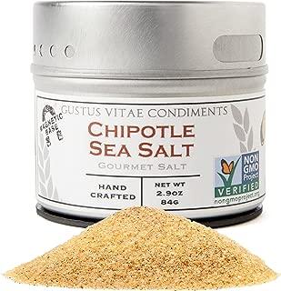 Gustus Vitae - Chipotle Sea Salt - Non GMO Verified - Magnetic Tin - Gourmet Finishing Salt - 3.0oz - Crafted In Small Batches - Artisan Seasoning