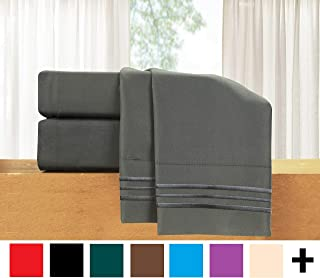 Elegant Comfort  4-Piece Sheet Set-Luxury Bedding 1500 Thread Count Egyptian Quality Wrinkle and Fade Resistant Hypoallergenic Cool & Breathable, Easy Elastic Fitted King Grey - 822RRW-King Gray