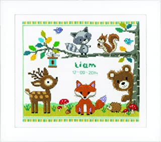 Vervaco Forest Animals Birth Record On Aida Counted Cross Stitch Kit-11.2