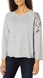 Calvin Klein womens Mixed Fabric Long Sleeve Tee Shirt
