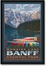 Moraine Lake Professionally Framed Giclee Archival Canvas Wall Art for Home & Office from Original Travel Artwork by Artis...