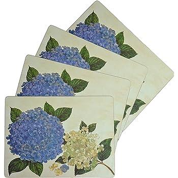 Set 4 Benson Mills Cork Placemats Spring Birds Floral Coral Blue Square