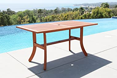 Malibu Outdoor 7-Piece Wood Patio Dining Set with Stacking Chairs