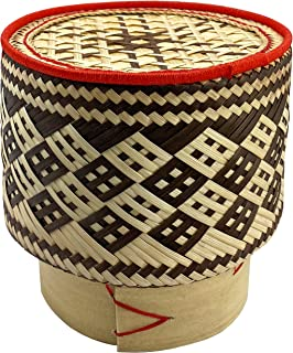 PANWA Bamboo Sticky Rice Serving Basket Handmade 100% Eco-Friendly Thai Kratip Container - Latte Toned Wickerwork with Veg...