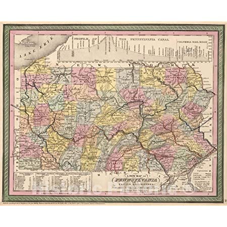 Historic Map : 1853 A New Map of Pennsylvania, with its Canals, Rail-Roads &c. - Vintage Wall Art - 30in x 24in