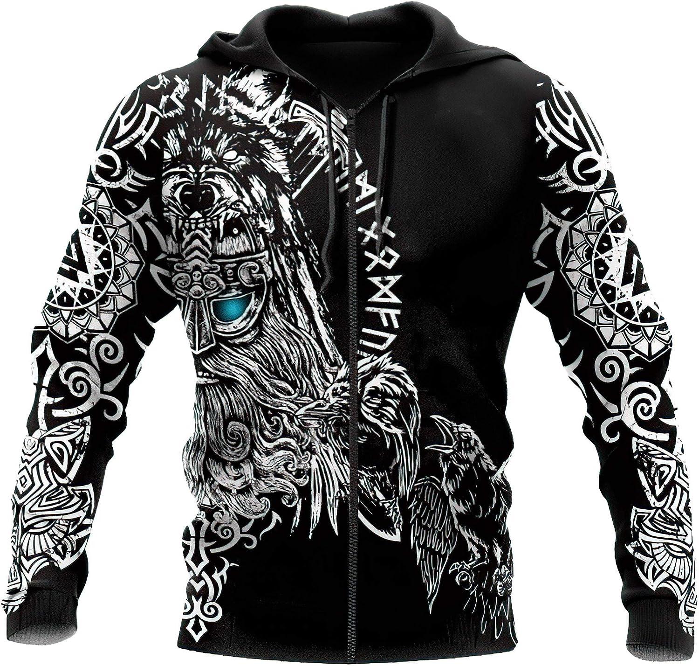 9Yourtime Vikings Hip Hop Tattoo Anime Casual Thin Zipped Hoodie Sweatshirt