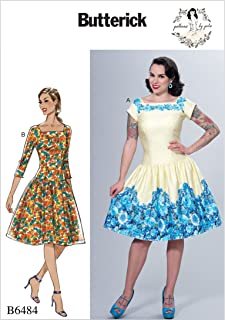 Butterick Patterns B6484A50 Square-Neck, Dropped-Waist Dresses and Petticoat Ruffle A5 (6-8-10-12-14)