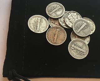 10 Silver Mercury Dimes 1916-1945 Choice Fine