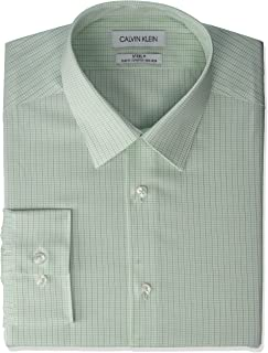 Men's Dress Shirt Non Iron Stretch Slim Fit Check