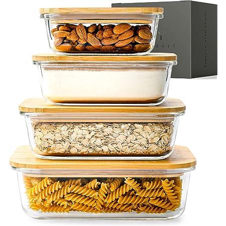 KIVY® Boites Conservation Alimentaire de Qualité Supérieure Couvercles en Bambou [Lot de 4] – sans BPA – Boites Hermétiques Alimentaires – Boites Alimentaires en Verre