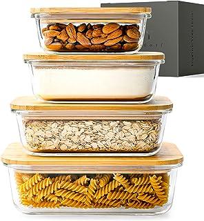 KIVY® Boites Conservation Alimentaire de Qualité Supérieure Couvercles en Bambou [Lot de 4] – sans BPA – Boites Hermétique...
