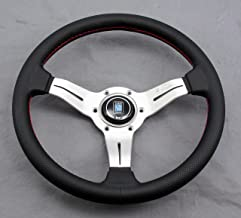 Nardi Steering Wheel Deep Corn 330mm / 12.99 inch Diameter Black Perforated Leather with Red Stitching White Anodized Spok...
