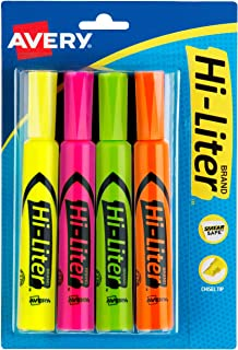 هايلايتر هاي ليتر من أفري، حبر آمن للتلطيخ، طرف على شكل إزميل، 4 ألوان متنوعة (24063)