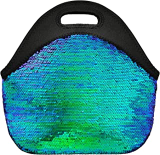 Neoprene Lunch Bags for Women and Girl Mermaid Sequins Insulated Lunch Tote Bag with Zipper - FUNLAVIE