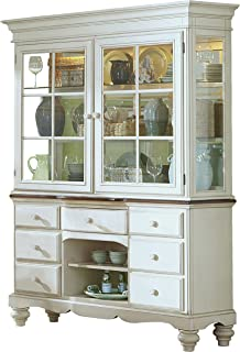 Hillsdale Furniture 5265BH Pine Island Buffet and Hutch with Dark Top, Old White