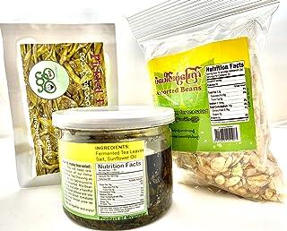 Tea Salad Set ~ 7oz Tea Dressing jar + 2 oz Pickled Tea Leaves package + 9 oz Salad Topping လဘက္နွပ္နွင့္ပဲေၾကာ္