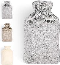 Blumtal Warmwaterkruik met zachte overtrek - warmtekruik voor nek en schouder, 2 l, nekwarmwaterfles - grijs