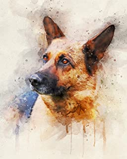German Shepherd Watercolor Art Print in Various Sizes - German Shepherd Decor for a Nursery, Home, or Office - A Great Gift for a Dog Lover, Pet Remembrance or Pet Memorial