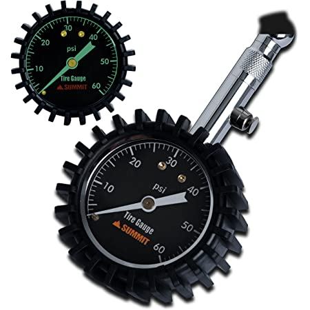 Summit Tools Tire Pressure Gauge with Glow Dial, 0 to 60 PSI, Hold Valve, Pressure Bleeding Button, Rubber Head Cover. Automobile Accessory