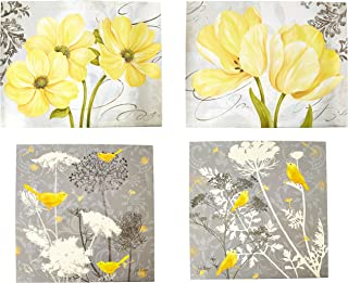 Gango Home Decor Beautiful Grey & Yellow Poster Set; Birds and Flowers; Two 12x12in and Two 14x11in Unframed Poster Prints