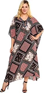 In'voland Plus Size Georgettina Flowy Rhinestone V Neck Long Caftan Dress/Cover Up