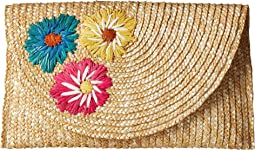 BSB1741 - Wheat Straw Embroiderd Flowers Clutch