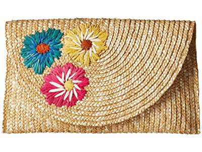 San Diego Hat Company BSB1741 Wheat Straw Embroiderd Flowers Clutch (Natural) Handbags