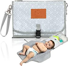 Baby Diaper Changing Pad - Portable Waterproof Diaper Changing Mat - Folding Diaper Changing Station - Travel Diaper Change Pads - Changing Clutch - Detachable Stroller Hooks - Baby Gift (Gray Mod)