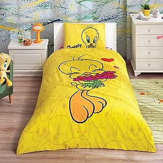 Looney Tunes - Tweety Hearts 3 Pcs Twin / Single Size %100 Cotton Duvet Cover Set Bedding Linens