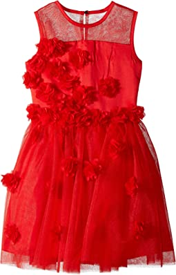 Nanette Lepore Kids - Tulle with Chiffon Tack on Flowers and Embellishment Dress (Little Kids/Big Kids)