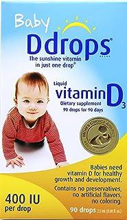 加拿大直邮 Baby Ddrops 400IU 90 Drops 加拿大婴儿宝宝维生素D3滴剂90滴补钙滴剂90滴 (1 瓶)