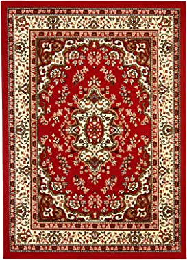 Antep Rugs Kashan King Collection HIMALAYAS Oriental Area Rug Maroon and Beige - Maroon and Beige - 8' x 10'