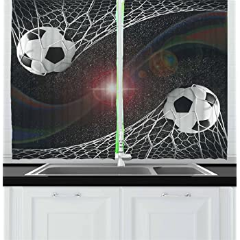 """Ambesonne Teen Room Kitchen Curtains, Soccer Balls Goal Match Success Concept in The Outer Space Winner Glory Theme, Window Drapes 2 Panel Set for Kitchen Cafe Decor, 55"""" X 39"""", Black Magenta"""