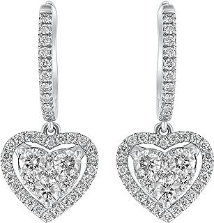 14k Gold Diamond Open Halo Heart Hoop Drop Earrings (0.90 cttw, H-I, SI2-I1) .86