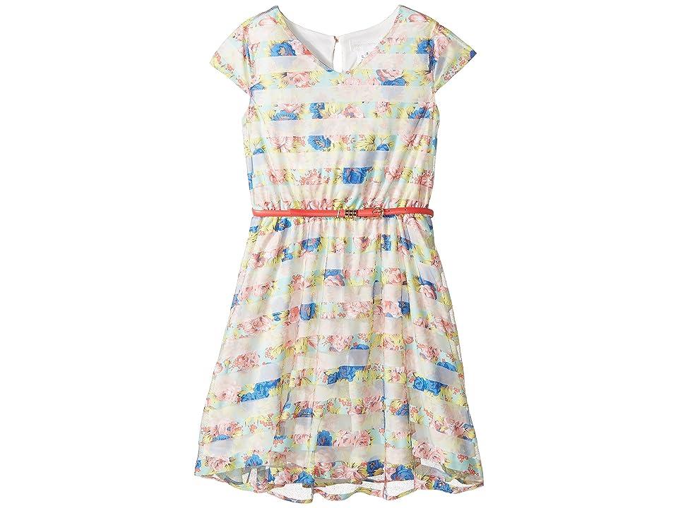 Us Angels Flutter Sleeve V-Neck Dress with Full Skirt (Big Kids) (Multi) Girl