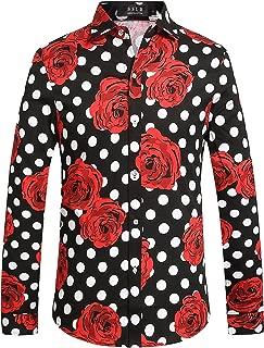 Men's Polka Dots Rose Hawaiian Vintage Casual Floral Shirts