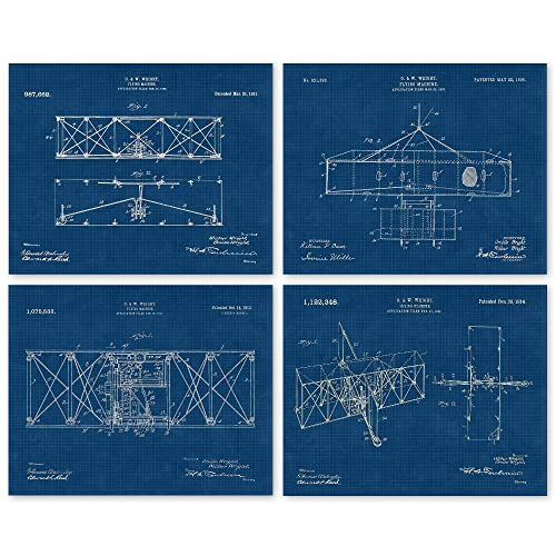 Vintage Wright Brothers Flying Machine Patent Poster Prints, Set of 4 (8x10) Unframed Photos, Wall Art Decor