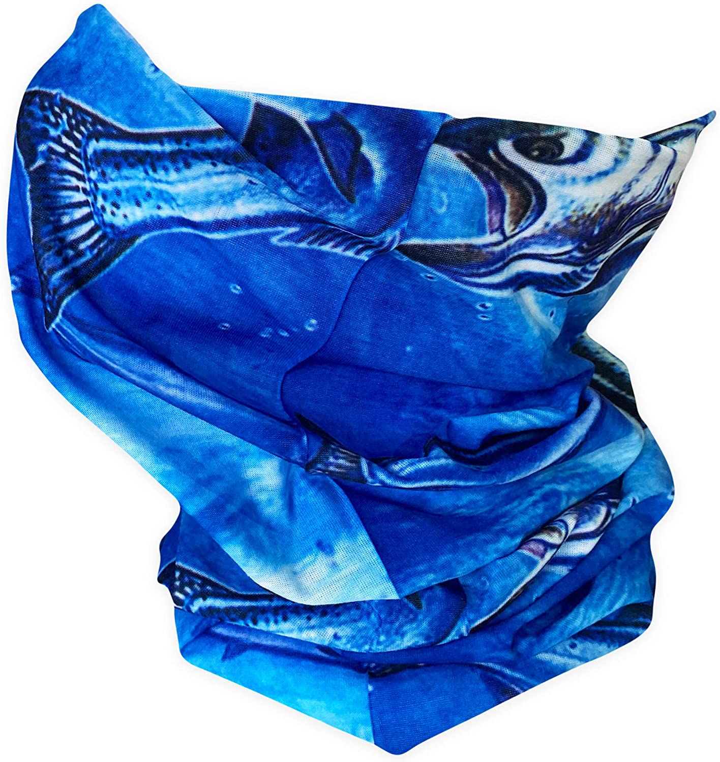Cool Blue Fish Gaiter Mask for Men and Women - Multi-use breathable Bandana Balaclava Face Cover