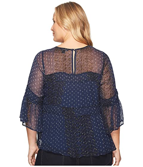 Shirred Top Lucky Brand Plus Size Peasant wx0t0Crq