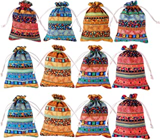 MeiMeiDa 24 Pcs 5x7 inches Egyptian Ethnic Style Jewelry Coin Pouches, Drawstring Candy Gift Bags Cotton Reusable Grocery Bags Sachet Purse for Party Favors Wedding Holiday (Mixed Color)