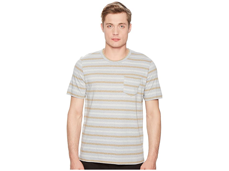 Image of Billy Reid Short Sleeve Striped T-Shirt (Quarry) Men's Clothing
