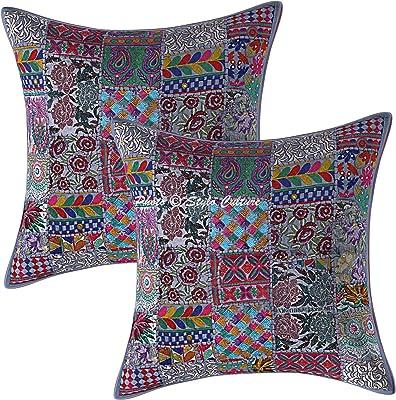 Stylo Culture Ethnique Coton Patchwork Housses de Coussins Vintage Gris 60x60 cm Abstrait Coussin pour Salon Indien Décor Lounge 24x24 Floral Carré Housses d'oreiller (Lot de 2)
