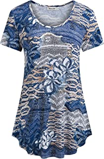 Tencole Womens Short Sleeve Shirts Ethnic Style Casual Summer Tunic Tops Pleated Blouse
