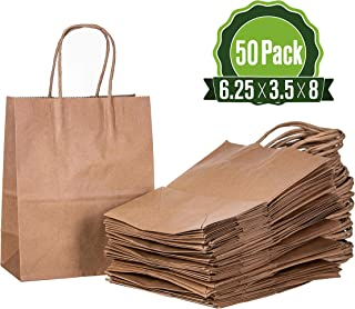 6.25 X 3.5 X 8 Brown Kraft Paper Gift Bags Bulk with Handles [50 Bags] Ideal for Shopping, Packaging, Retail, Party, Craft, Gifts, Wedding, Recycled, Business, Goody and Merchandise Bag