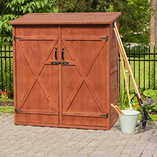 Leisure Season MSS6602 Medium Storage Shed - Brown - Outdoor Garden Tool Organizer Box - Lockable Waterproof Cedar Cabinet with Shelves and Wooden Doors - Stain Coating with Tongue and Groove Design