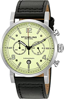 Stuhrling Original Men's 'Aviator' Quartz Stainless Steel and Leather Dress Watch, Color:Black (Model: 583.02)