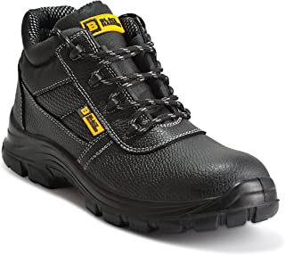 Black Hammer Mens Safety Boots Work Waterproof Shoes Leather Steel Toe Cap Working Ankle Lightweight Footwear S3 SRC 1007