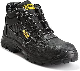 Botas de Seguridad de Cuero para Hombres Puntera de Acero Protección de Entresuela Resistente al Agua Impermeable S3 SRC Calzado de Trabajo al Tobillo de Cuero 1007 Black Hammer