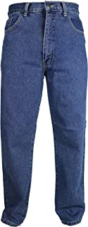 Carabou Mens Basic Regular Fit Jeans Waist 30 – 60 Inch Straight Bottoms Plain Tough Casual Jeans Smart Every Day Wear Lar...
